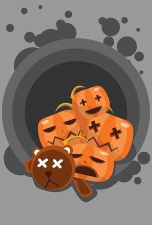 hades: Image of bear and pumpkin who is sleeping on Halloween night.