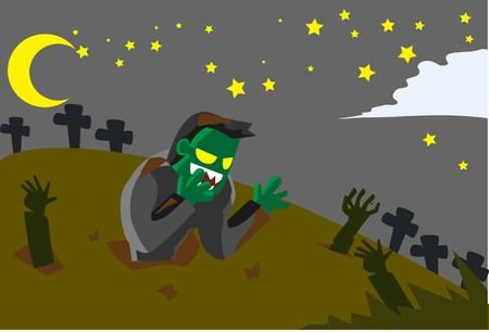 hades: Image of Frankenstein who rise from the grave on the Halloween