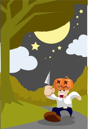 hades: Image of man who is running with pumpkin on his head and holding a knife in his hand.