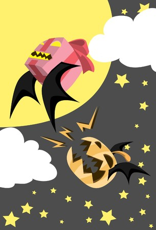 Image of a pumpkin bat who chases a bat on Halloween night photo
