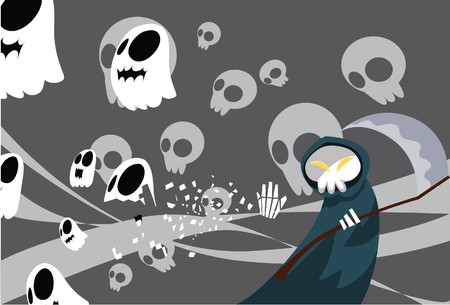 underworld: Image of a grim reaper which collects the spirits back to the underworld.