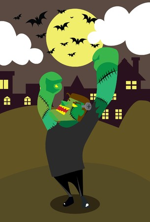 rampage: Image of a Frankenstein who is angry and rampage on Halloween night. Stock Photo