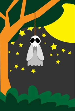 suicidal: Image of a suicidal ghost that is hanged by the neck on Halloween night. Stock Photo