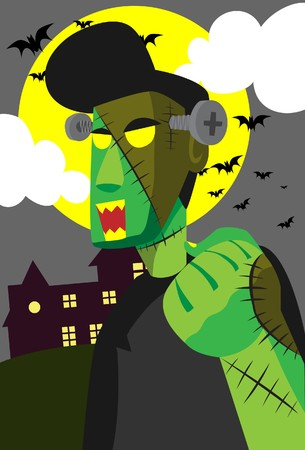 Image of a Frankenstein who is wake up on Halloween night. photo