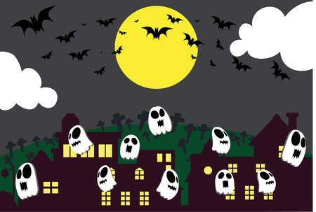 stray: Image of spirits which stray on Halloween night.