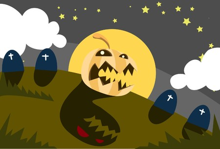 rampage: Image of a pumpkin that is rampage on Halloween night Stock Photo