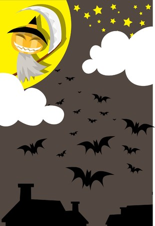 Image of a angel of death and bats who haunting on Halloween night. photo
