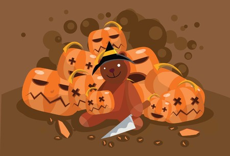 Image of a teddy bear who is carving pumpkin on Halloween night. photo