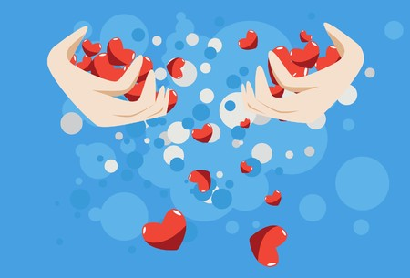 to woo: Image of two hands which holds a lot of hearts.