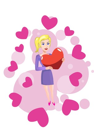 to woo: Image of a woman who is in love on valentine day. Stock Photo