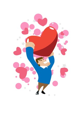 liaison: Image of a man who is carrying a big heart. Stock Photo