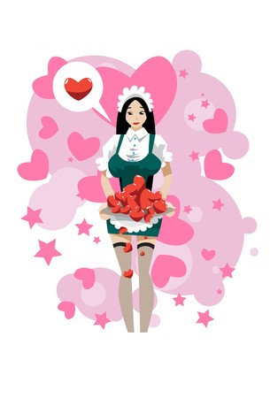liaison: Images of a house Maid who is given her hearts to you. Stock Photo