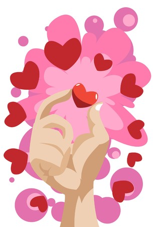 liaison: Image of hand which touchs on heart on valentine day.
