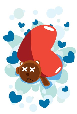 liaison: Image of a big heart which lean teddy bear. Stock Photo