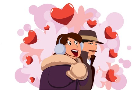 Image of lover who are on honeymoon vacation on valentine day.