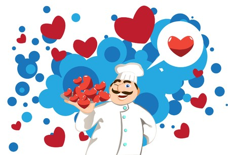 Image of a chef who is a cooking for a romantic valentine dinner.