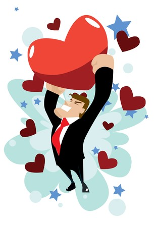 Image of a man who is going crazy for love on valentine. Stock Photo