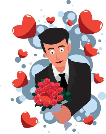Image of a man who proposes his girlfriend to marry on valentine day. Stock Photo