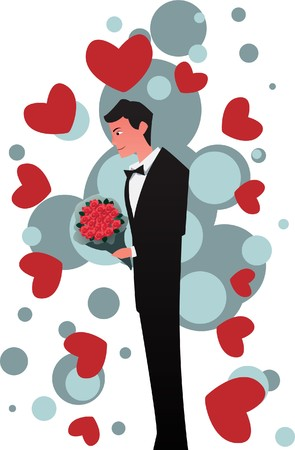 liaison: Image of a man who waits to deliver a flower to his girlfriend on valentine night.