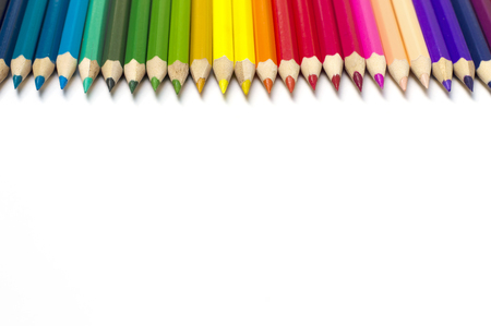 sharp: Color pencils on white background Stock Photo