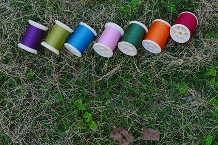 Multicolor bobbins on green grass for sewing background Banco de Imagens