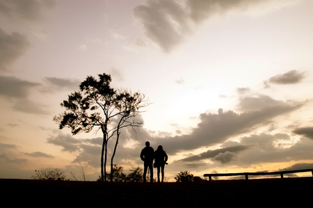 Silhouette of couple standing beside a tree on the hill at sunset