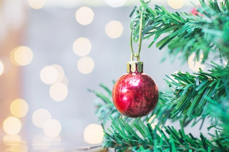Close up of red ball for Christmas or New Year decoration background