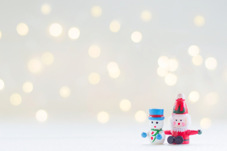 Santa claus and snow man doll for Christmas decoration background