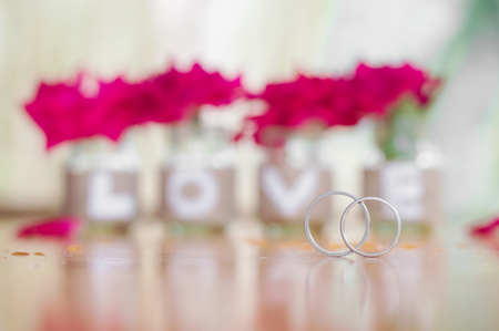 Close up of weeding rings for Valentine's day or wedding background Banco de Imagens - 123010352