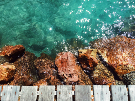 View of wooden bridge with blue sea