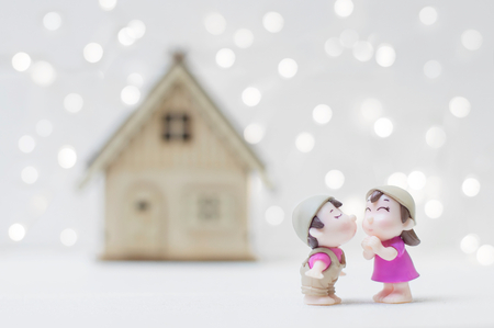 Kissing couple with home background for Valentine's day or Wedding concept Banco de Imagens - 123010591