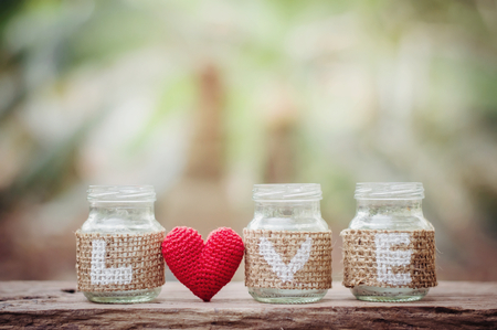 Love on the bottle with red heart for Valentine's day or wedding background Banco de Imagens - 123010619