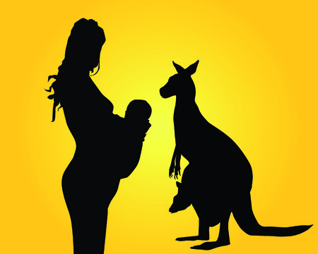 Silhouettes of the woman of mother and a kangaroo Stock Vector - 7097615