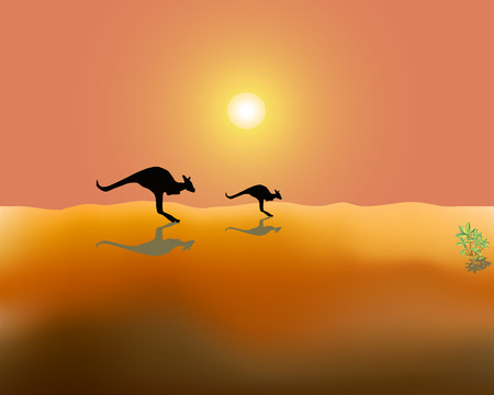 hot day: Silhouettes of two running kangaroos on desert in Australia in a hot sunny day Illustration