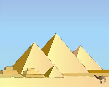Grupo de egipcio pirámides contra el cielo azul  Ilustración de vector