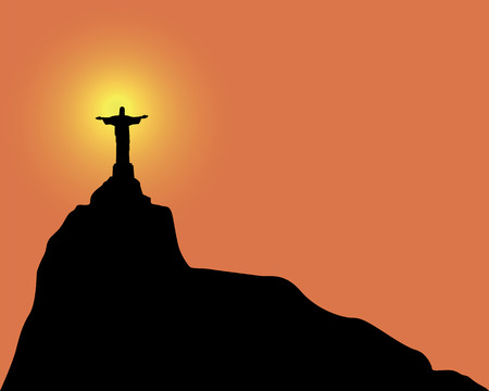 arms outstretched:  Silhouette of a statue to Jesus Christ in Rio de Janeiro Brazil on an orange background Illustration