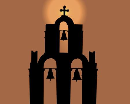 Silhouette ein Glockenturm gegen den orange Himmel