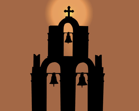 Silhouette of a belltower against the orange sky