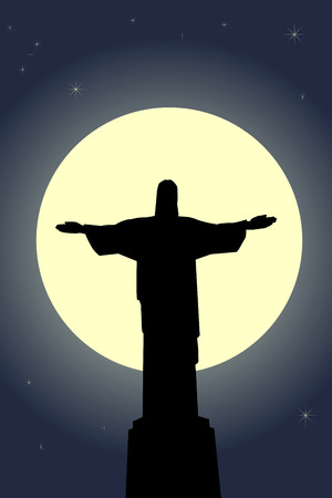 Jesus Christ statue against the moon and stars