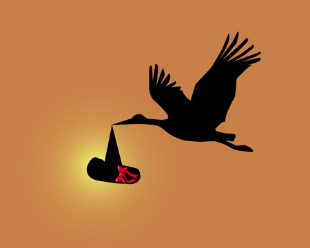 Silhouette of a stork with the child on an orange background