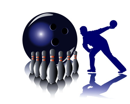 Size and sphere for game in bowling with a dark blue silhouette of the player on a white background Illustration