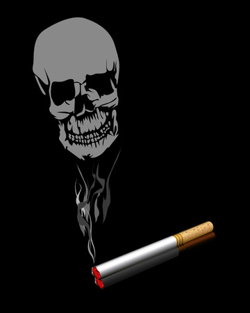 cigaret: Cigaret and smoke in the form of a human skull on a black background