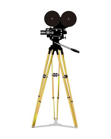 Old film movie camera on a white background Illustration