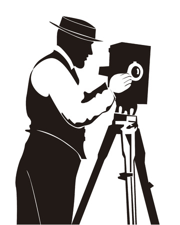 paparazzi: Silhouette of the photographer on a white background
