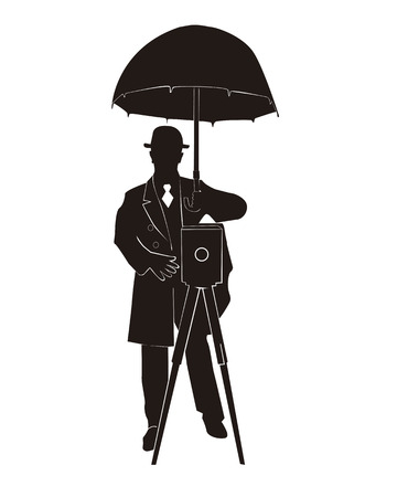 Silhouette of the photographer with an umbrella on a white background Stock Vector - 7590703
