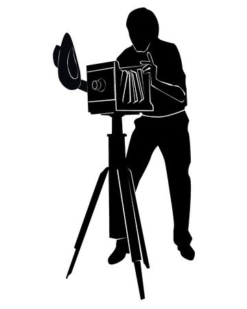 Silhouette of the photographer with the old camera on a white background