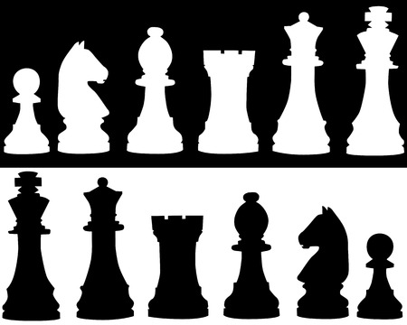 chess knight: Silhouettes of black and white chessmen