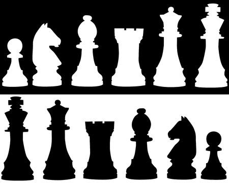 ajedrez: Siluetas de trebejos blancos y negro