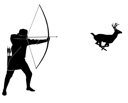 wildlife shooting: Hunting for a deer with onions on a white background Illustration