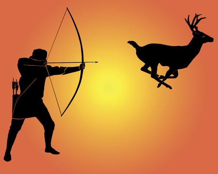 wildlife shooting: Hunting for a deer with onions on an orange background